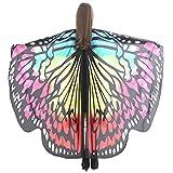 WEXCV Damen Schmetterling Kostüm Schmetterling Flügel Schal Nymphe Pixie Zubehör Erwachsene Schmetterlingsflügel Poncho Umhang Karneval Fasching Cosplay mit Handring Tanzkostüm 168 * 135CM