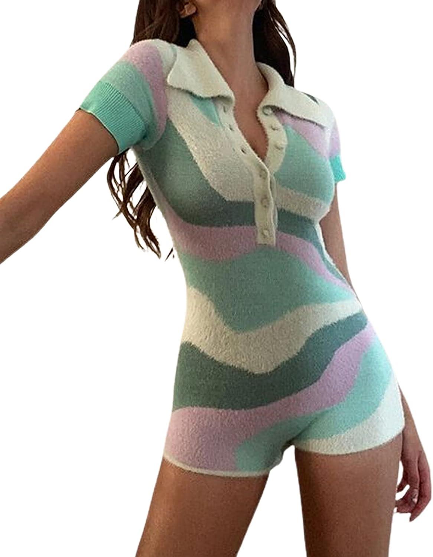 Luckinbaby Women Y2k Knitted Bodycon Ranking TOP12 Sleeve Short SALENEW very popular Jumpsuit