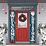 Dazonge Christmas Decorations | Welcome & Christmas Sign for Front Door/Porch Decor | New Year Christmas Winter Party Supplies