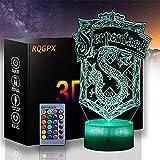 Lámpara de escritorio 3D ilusión Harry James Potter B luz nocturna con control remoto y toque inteligente, regalos para niños niñas de 2 3 4 5 6 7 8 años de edad regalos