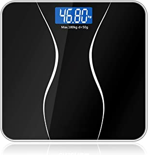 Bathroom Scales Body Smart Electric Digital Weight Home Health Balance Toughened Glass LCD Display 180kg/50g,Spain,Black