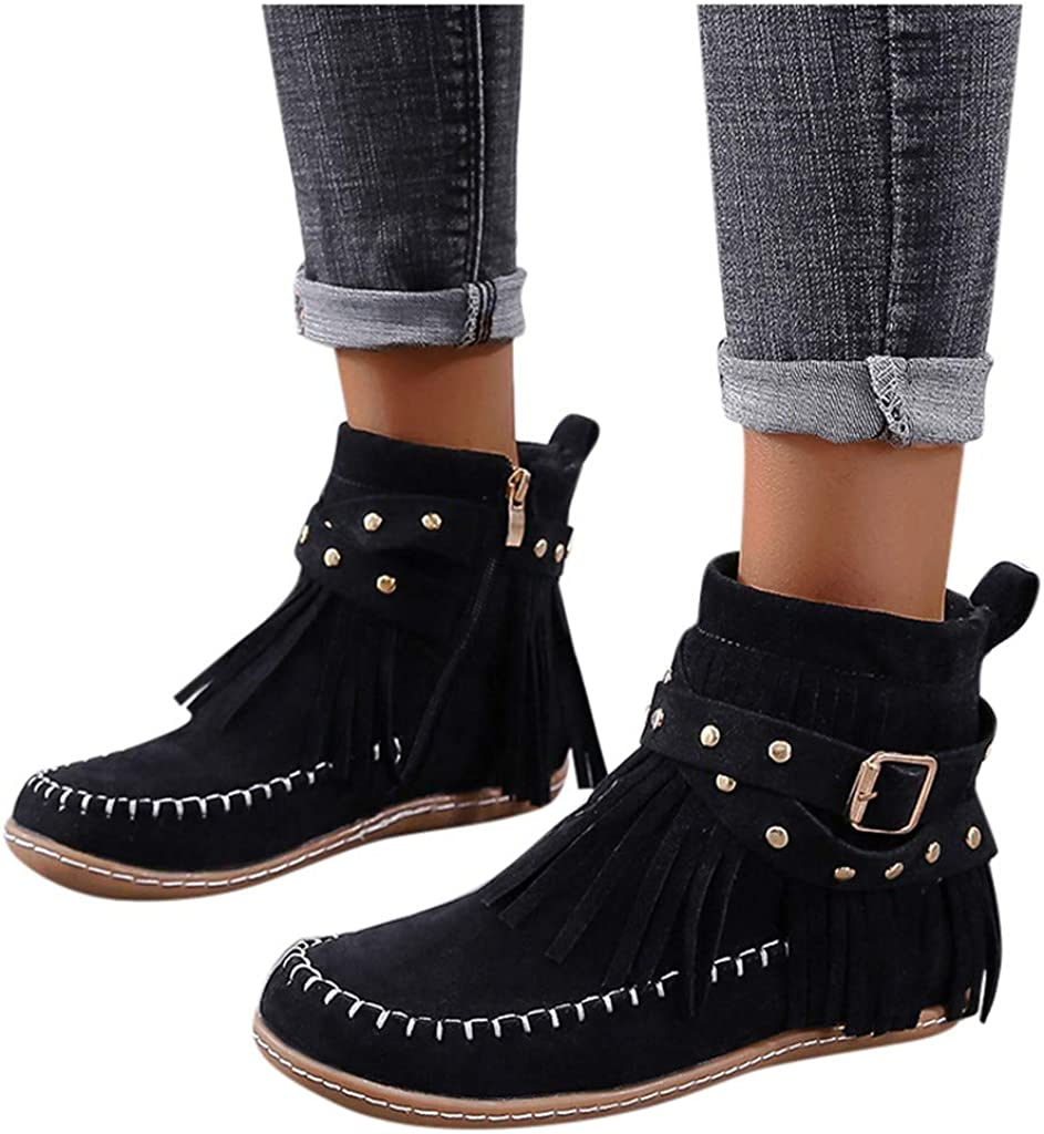 Simayixxch Women Retro Ankle Tulsa Mall Boots Toe Our shop OFFers the best service w Short Round Flats