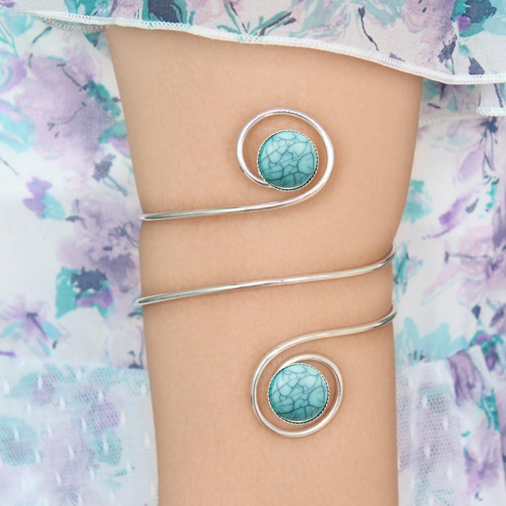 Q&Q Fashion Egypt Cleopatra Turkey Double Blue Stone Swirl Spiral Dancer Upper Arm Cuff Armlet Armband Bangle Dia. 6.8cm(2.67