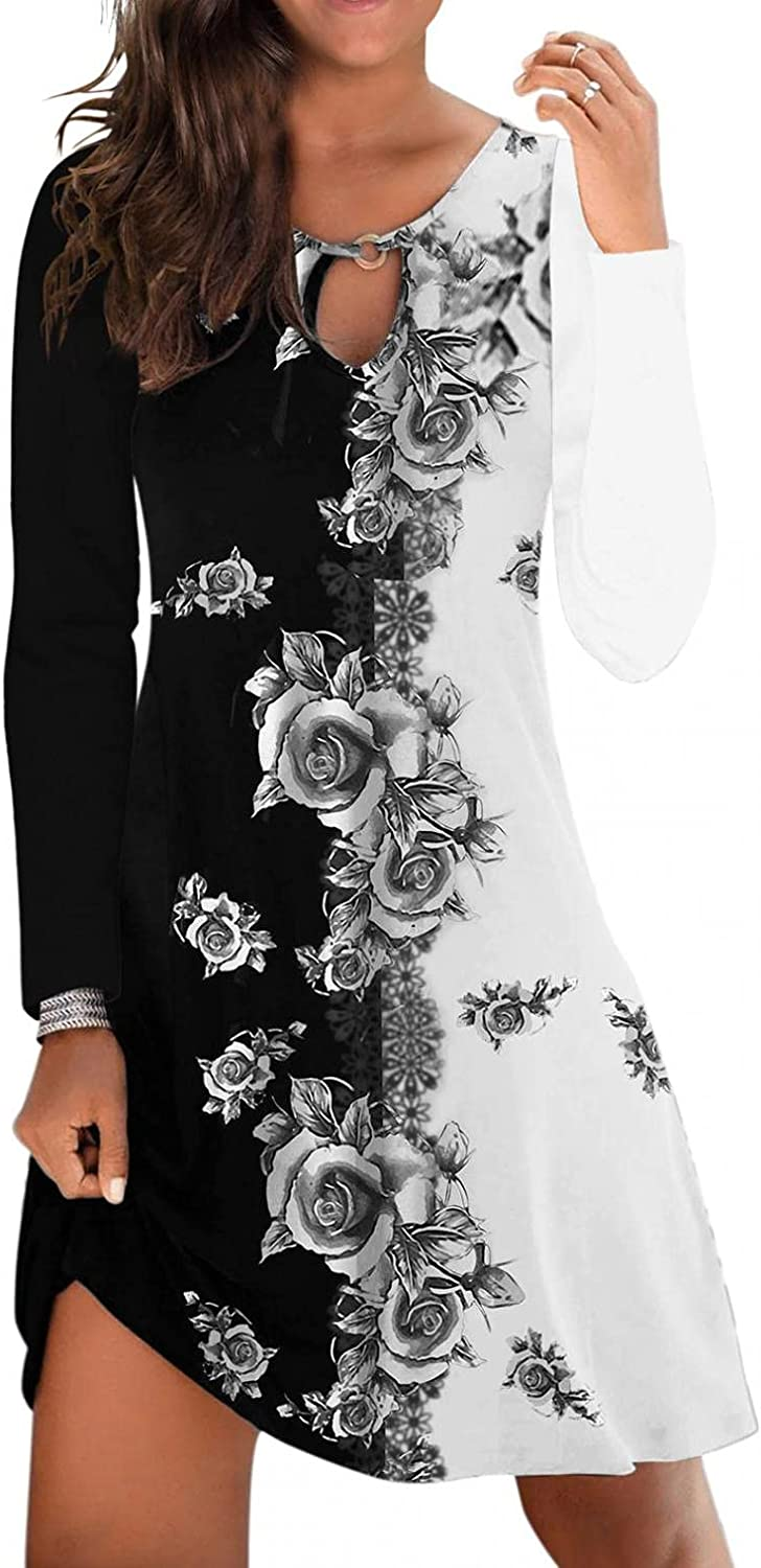Gerichy Fall Dress for Women 2021, Womens Long Sleeve Floral Print Short Mini Casual Dress Sexy Bodycon Party Dress