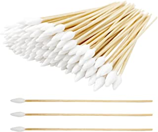Cotton Swabs with Wooden Handles 200 Pieces 6'' Long Sticks Applicators for Gun Cleaning, Electronics, Cats and Dogs, Arts...