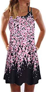 Sunhusing Womens Sling Off-Shoulder Flower Print Tank Top Dress Sleeveless Mini A-Line Beach Sundress