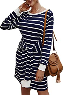 KIRUNDO 2019 Women's Sweatshirt Knit Striped Dress Long Sleeves Crew Neck T-Shirt Dress A-Lined Front Tie Midi Dress