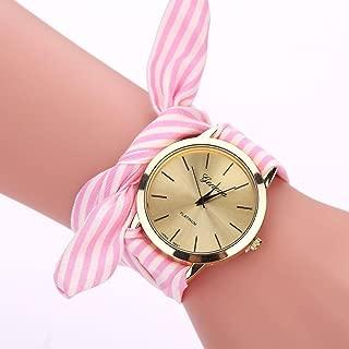 Malltop Elegant Women Floral Stripe Cloth Bracelet Mineral Glass Dial Window Quartz Analog Wrist Watch (Pink)