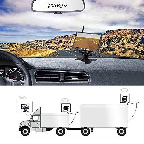 Podofo Kit de Caméra de Recul sans Fil DC 12V-24V Fiche Étanche 7 Pouces Écran Vidéo de Recul Moniteur de Véhicule Aide au Stationnement et Caméra Arrière de Vision de Nuit IR pour Bus Camion Caravane
