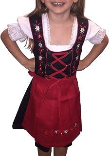 Seruna Dirndl Kinder-Dirndl 3 teilig Dik03 Gr. 116, Trachten-Kleid rot-schwarz Dirndel-Bluse -Schürze für Oktober-Fest