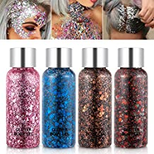 Holographic Body Glitter Gel Set 4 Colors Cosmetic Chunky Glitters Flakes Gel Colorful Mixed Paillette Gel for Festival Party Face Makeup, Body, Hair, Eye and Lips Shimmer Pink, Blue, Brown