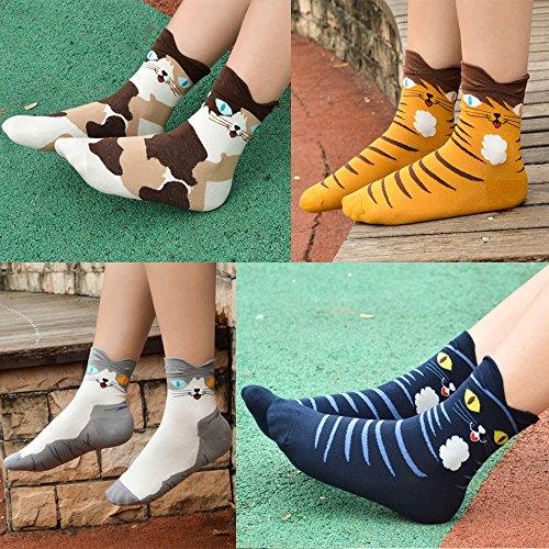 Ambielly Socken aus Baumwolle Thermal Socken Erwachsene Unisex Socken (4 Katzen) - 4