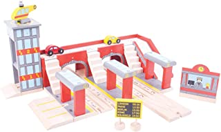 Bigjigs Rail Wooden Grand Central Station for Wooden Train Set - Train Set Accessories