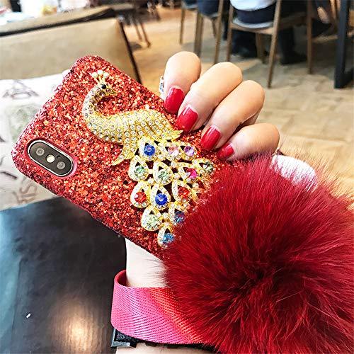 Carcasa para iPhone 6 Plus, con piedras preciosas de pavo real 3D, hecha a mano, diamantes de imitación, con pompón de piel de conejo para Apple iPhone 6 Plus/6S Plus (B rojo corlorful)