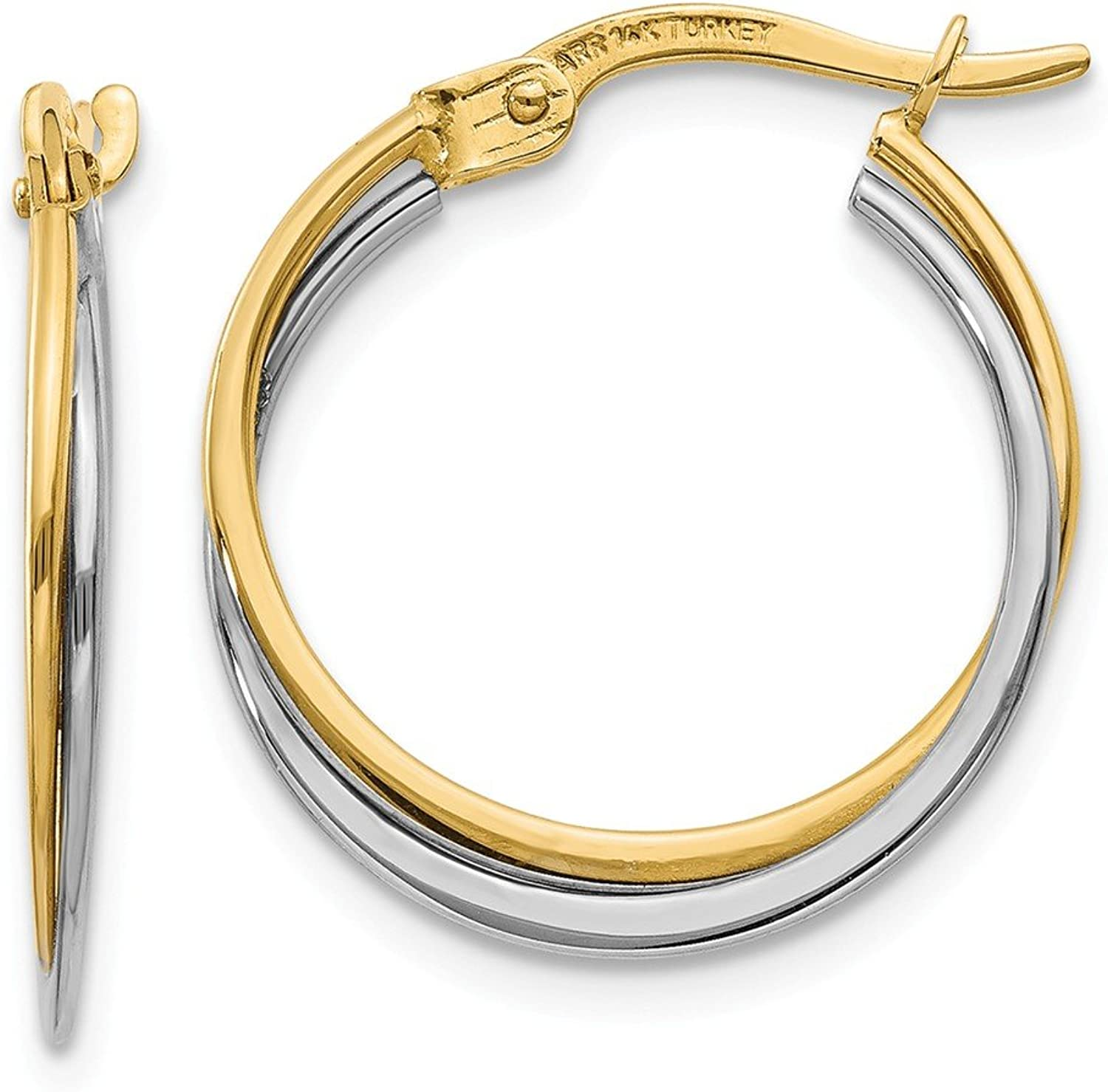 Beautiful White and yellow gold 14K Whiteandyellowgold 14K TwoTone Polished Hoop Earrings