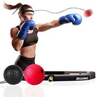 VIPMOON Boxing Reflex Ball, 2 Difficulty Level Boxing Ball with Headband, Softer Than Tennis Ball, Perfect for Reaction, A...