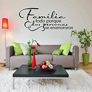 YANJUNHONG Vinyl Lettering Spanish Quote Wall Decal Family Wall Art Stickers Bedroom