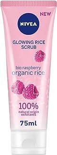 NIVEA Face Glowing Rice Scrub, Organic Rice & Bio Raspberry, Dry and Sensitive Skin, 75ml