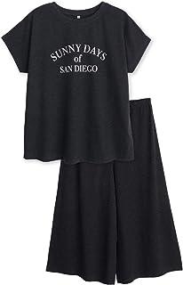 綿100% 半袖 レディース パジャマ Tシャツ素材 ドルマンスリーブ シンプルロゴプリント ルームウェア 春 夏
