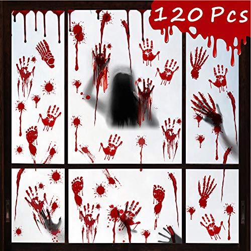 Halloween Aufkleber, 120 Stück Halloween Blutige Aufkleber, Blutige Handabdrücken Fußabdrücken Horror Deko Halloween Fenster Aufkleber für Halloween Party Dekorationen Horrible Fenster Sticker