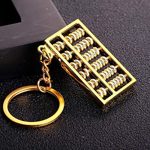 Sinzong Keychain Damestassen Activity Parel 6 bestanden 8 bestanden goud en zilver abacus metaal sleutelring auto sleutelring ketting accessoires 2 stuks 6 goud.