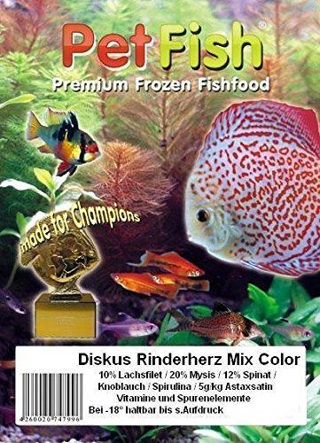 Diskus Natural - Rinderherz Mix Color mit: 10% Lachsfilet / 20% Mysis / 12% Spinat / Knoblauch / 5g/kg Astaxsanthin / Spirulina / Vitamine und Spurenelementen./ 5 kg / 50 X 100g / Quality Brine SHRIMP / Premium Frostfutter / Diskusfutter / Zierfischfutter / Fischfutter / Diskus / Fische / Meerwasser Futter / Meerwasserfutter