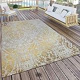 Paco Home In- & Outdoor Teppich Modern Shabby Chic Stil Terrassen Teppich Gelb, Grösse:60x100 cm
