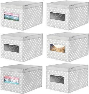 mDesign boîte de Rangement empilable (Lot de 6) – Grande Caisse de Rangement avec hublot pour la Chambre d'enfant – Panier...