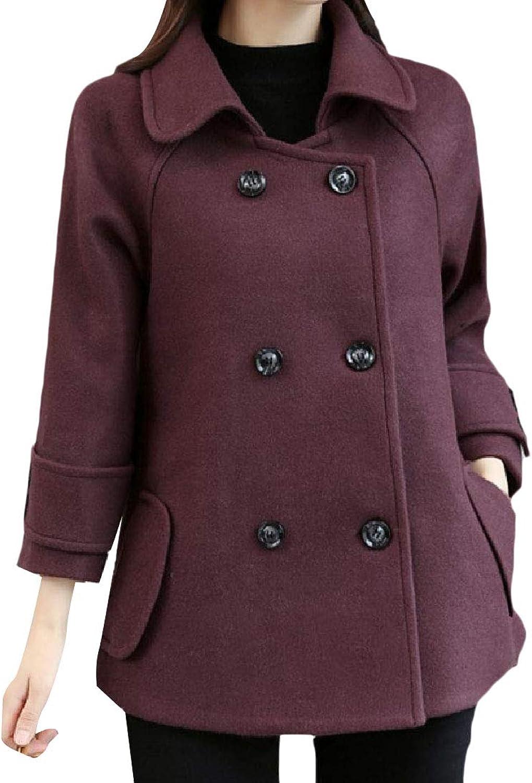 SpaceAngel Women's Lapel Poncho Jacket Double Button Fashion Short Overcoat