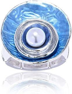 Cring Coco Silver Plated Rings for Women/Teen Girls Fashion Enamel Adjustable Size Design Trendy Irregular Geometric Shape