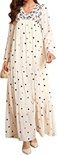 FridayIn Women's Gold Embroidery A-Line Long Sleeve Summer Floral Loose Long Dress with Belt
