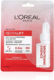 L'Oreal Paris Revitalift Essence Face Sheet Mask, Brightening and Hydrating, 30g