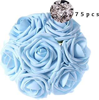 Carreking Artificial Flowers Roses 75pcs Real Looking Cream Fake Roses DIY Wedding Bouquets Shower Party Home Decorations Arrangements Party Home Decorations (Light Blue+Diamond)