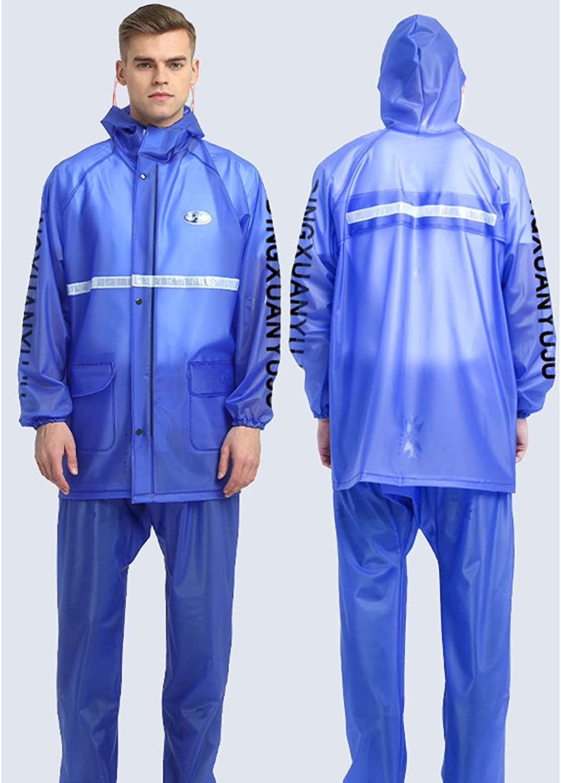 FHGH 2PCS Adult Split Raincoat, PVC Reflective Raincoat and Rain Pants Suit, Detachable Brim Design, for Fishing/Cycling,I,XXLarge