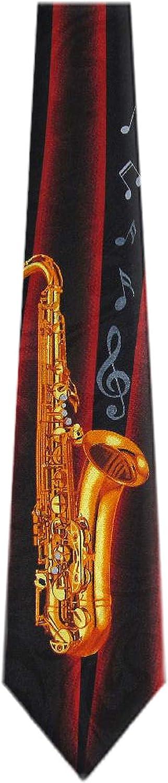 WI-321 - Mens Novelty Direct sale of manufacturer Saxophone Fashionable Necktie Red Gold Black