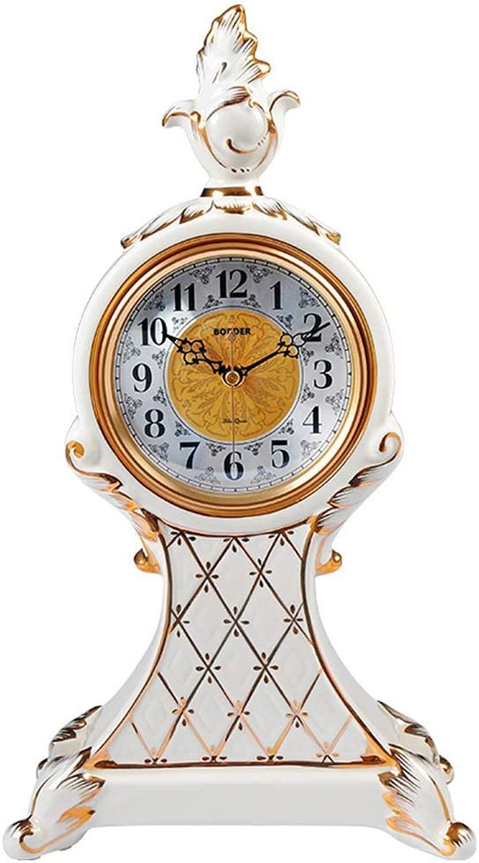 机上時計ファミリー用時計ヴィンテージセラミック置時計、無音装飾勉強寝室リビングルームに最適寝室オフィス