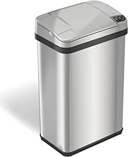 iTouchless with Odor Filter and Fragrance, Touchless Automatic Waste Bin 4 Gallon Sensor Trash Can, 4-Gallon, Brushed Stainless Steel