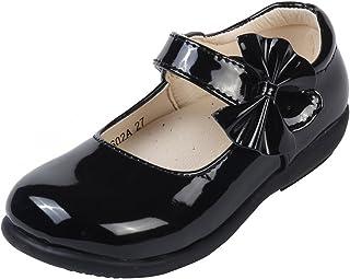 MK MATT KEELY Girls' Black Leather Shoes School Uniform Leisure Mary Jane Princess Shoes