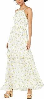 Women's Ruffled Floral-Print Maxi Dress, 16W, Lemon Drop