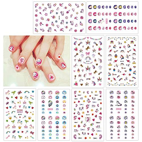 HOWAF Unicornio 3D uñas calcomanías autoadherentes Calcomanía Nail Art Pegatinas Nail Sticker para niños niñas Regalo 400+ diseños uñas para Fiesta de Navidad cumpleaños uñas decoración