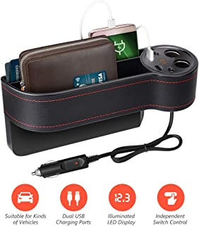 Beusoft Car Seat Gap Filler, Car Seat Organizer, Full Premium PU Leather Multifunctional Car Organizer with Cup Holder, 2 Lighters, 2 USB Chargers