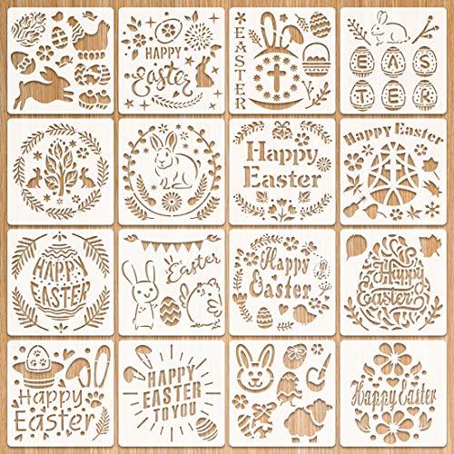 Schablonen Ostern, Ostern basteln, 8 Stück Ostern Schablonen Set Kunststoff Zeichnung Malerei Schablone für Kinder, Ostern deko und ostergeschenke, Schablone für DIY Ostern Scrapbooking (Weiß 2)