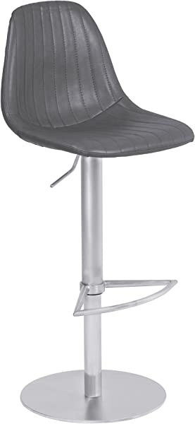 Armen Living LCMEBAVGBS Melrose Adjustable Barstool In Vintage Grey Faux Leather And Brushed Stainless Steel Finish