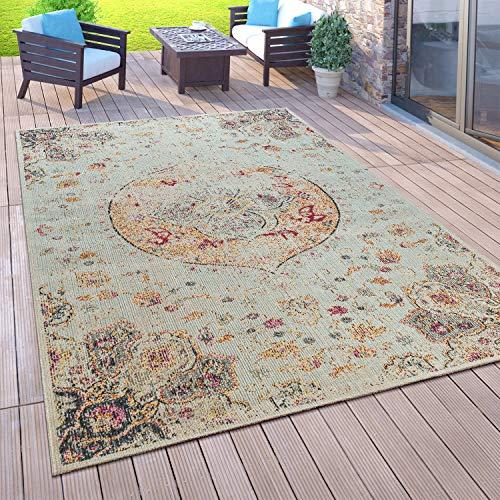 Paco Home Outdoor Teppich Balkon Terrasse Vintage Küchenteppich Orient Muster Rauten Ethno, Grösse:160x220 cm, Farbe:Creme