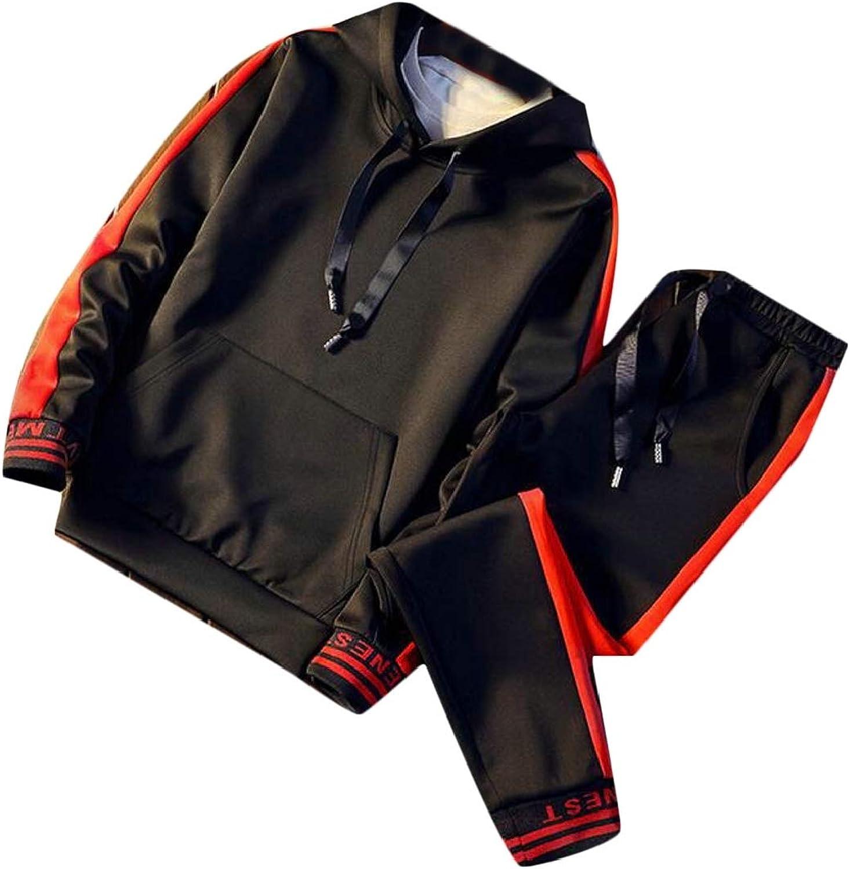 Fanmeili-AU Mens's 2 Piece Outfits Active Tracksuit Sweatsuits + Pants Set Sportswear