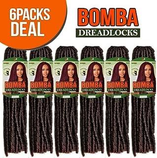 Bobbi Boss Synthetic Hair Crochet Braids Faux Locs Style Senegal Bomba Dreadlocks (6-Pack, T1B/30)
