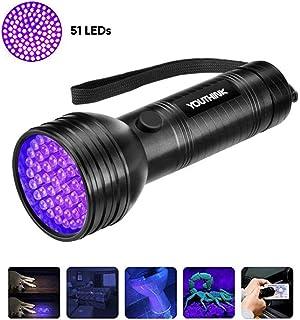 Linterna UV con 51 LED, Detector Ultravioleta de 395 nm para Detectar Orina de Mascotas en Alfombra, Flashlight Portable para Manchas de Cocinas, Caza Escorpión(51 LEDs)