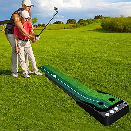 TolleTour Golf Putting Green Alfombrilla Entrenamiento Función de Retorno Automático de la Bola Alfombrillas para Campo de Prácticas de Entrenamiento de Interior y Exterior 3 Bolas Gratis
