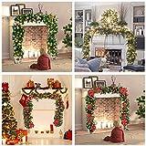 Weihnachtskranz mit LED Lichterkette Beleuchtung 270cm Weihnachtsgirlande künstlich Weihnachten Girlande Weihnachtsdeko Weihnachten, Türkranz Innen und Außen (rot) - 3