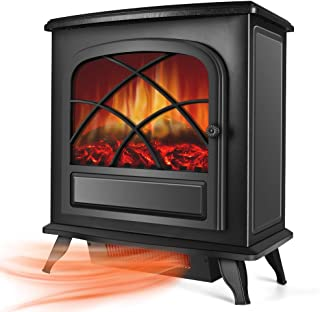 Electric Space Heater - Infrared Fireplace Heater w/1500W Strong Power, Large Space Heater w/3S Fast Heating System, Portable Fireplace Stove for Office Home Indoor Use w/Tip-Over& Overheat Protection